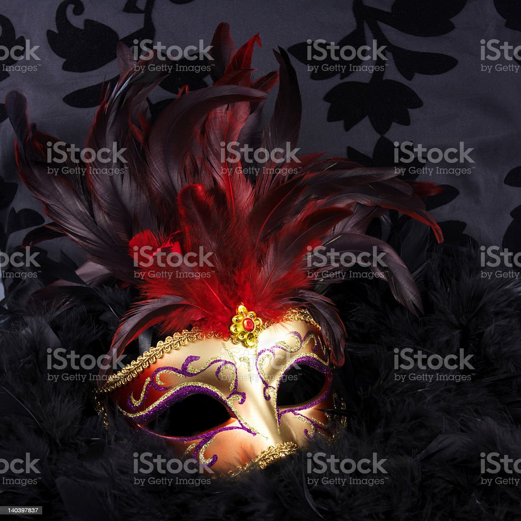 Red and golden mask with  feathers (Venice) stock photo