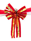 istock Red and golden ribbon 464645375