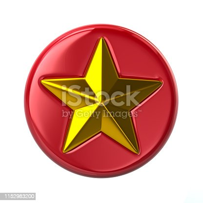istock Red and golden star button 3d illustration 1152983200