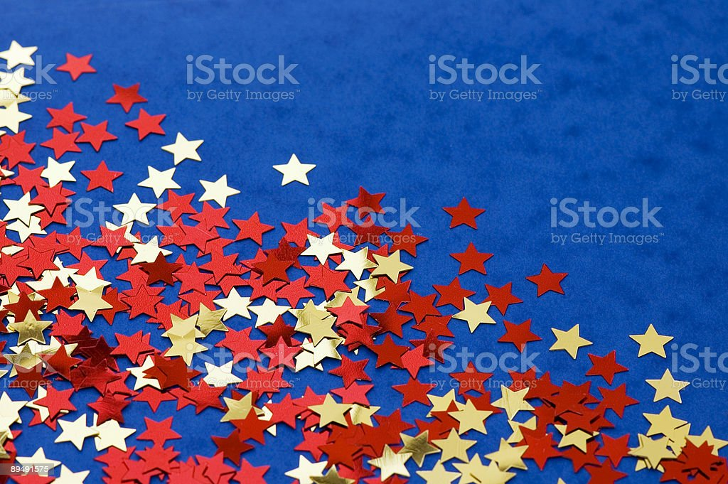 Red and Golden Stars on Blue royalty-free stock photo