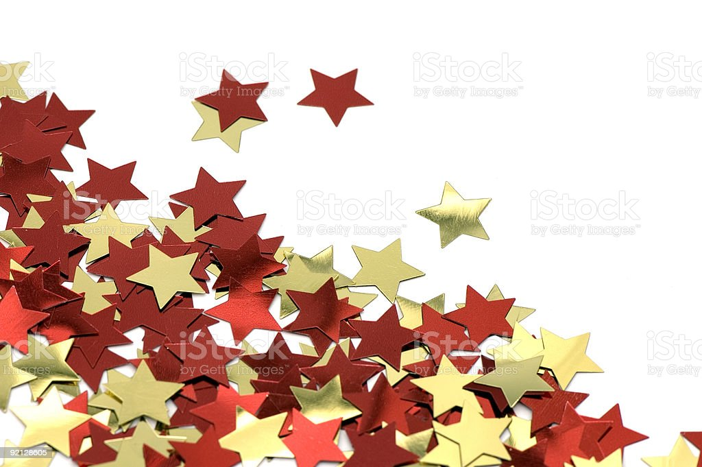 red and golden stars stock photo