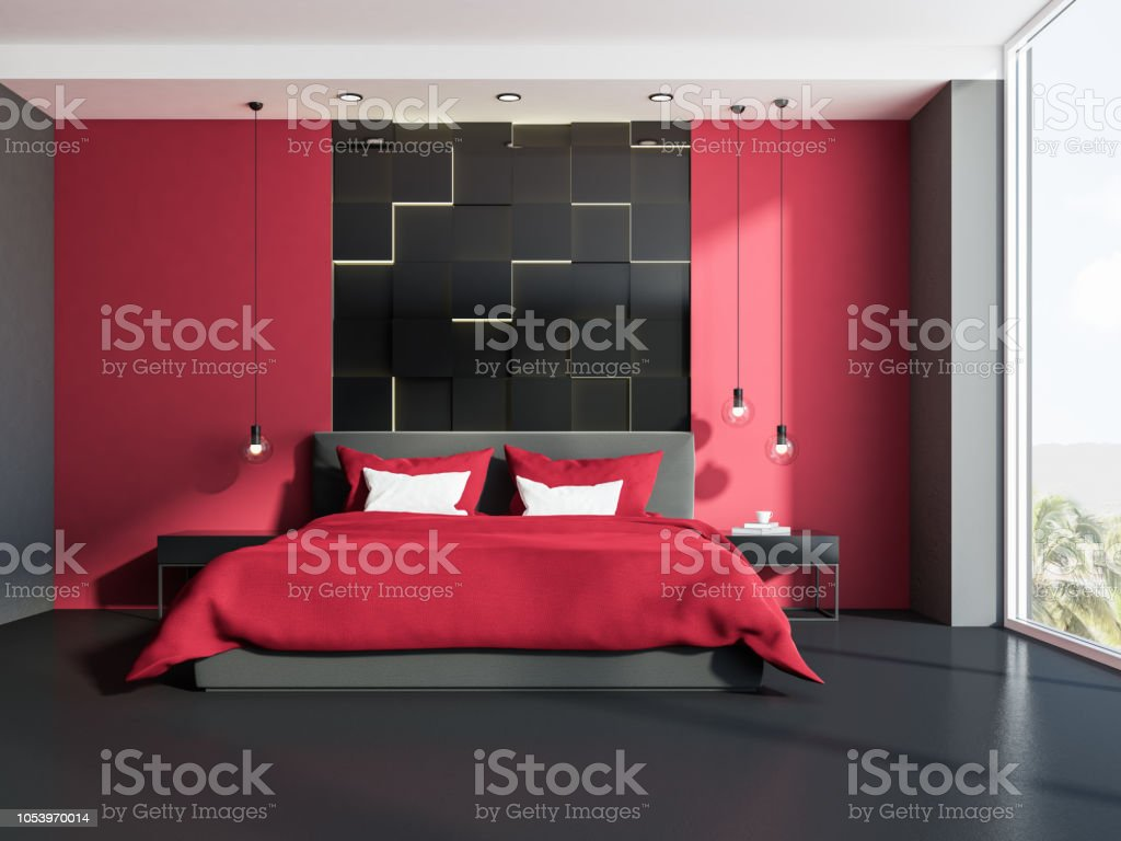 Rouge Dans Une Chambre photo libre de droit de intérieur de la chambre rouge et