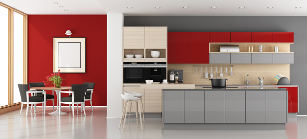 istock Red and gray modern kitchen 867856556