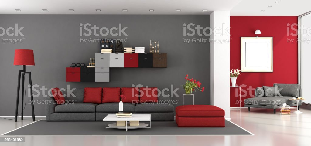 Photo libre de droit de Salon Moderne Gris Et Rouge banque d ...