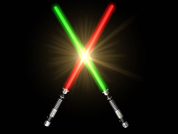 red and green 3d light future swords fight and glow stock photo