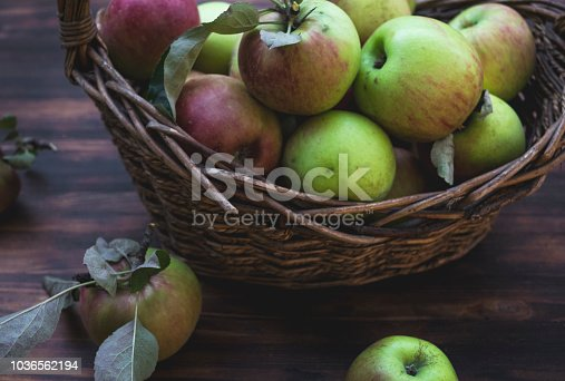 1020586746istockphoto Red and green apples in basket on wooden table 1036562194