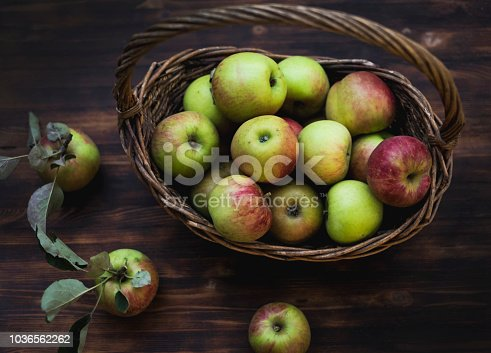 1020586746istockphoto Red and green apples in basket on wooden table 1036562262