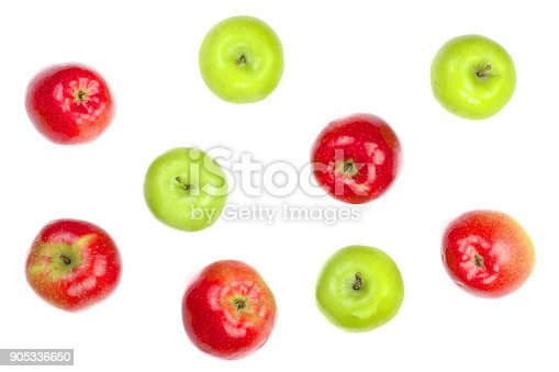 istock red and green apples isolated on white background top view. Flat lay pattern 905336650