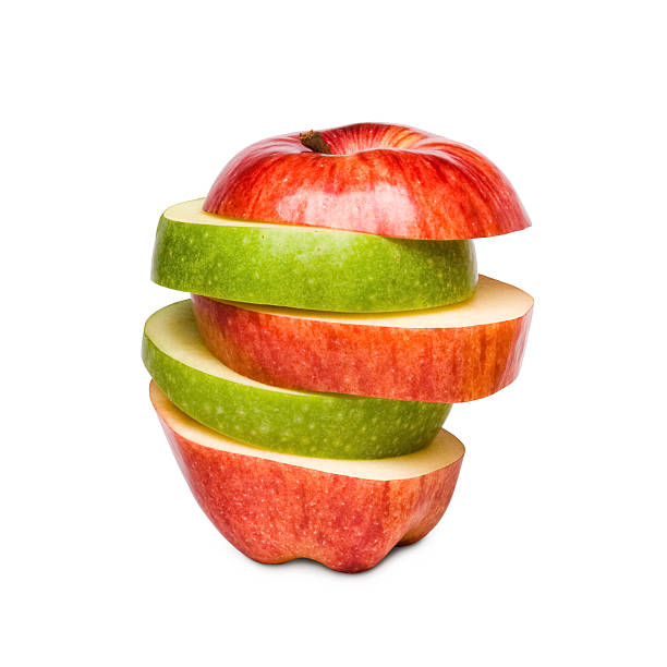 Red and green apples mixed stock photo