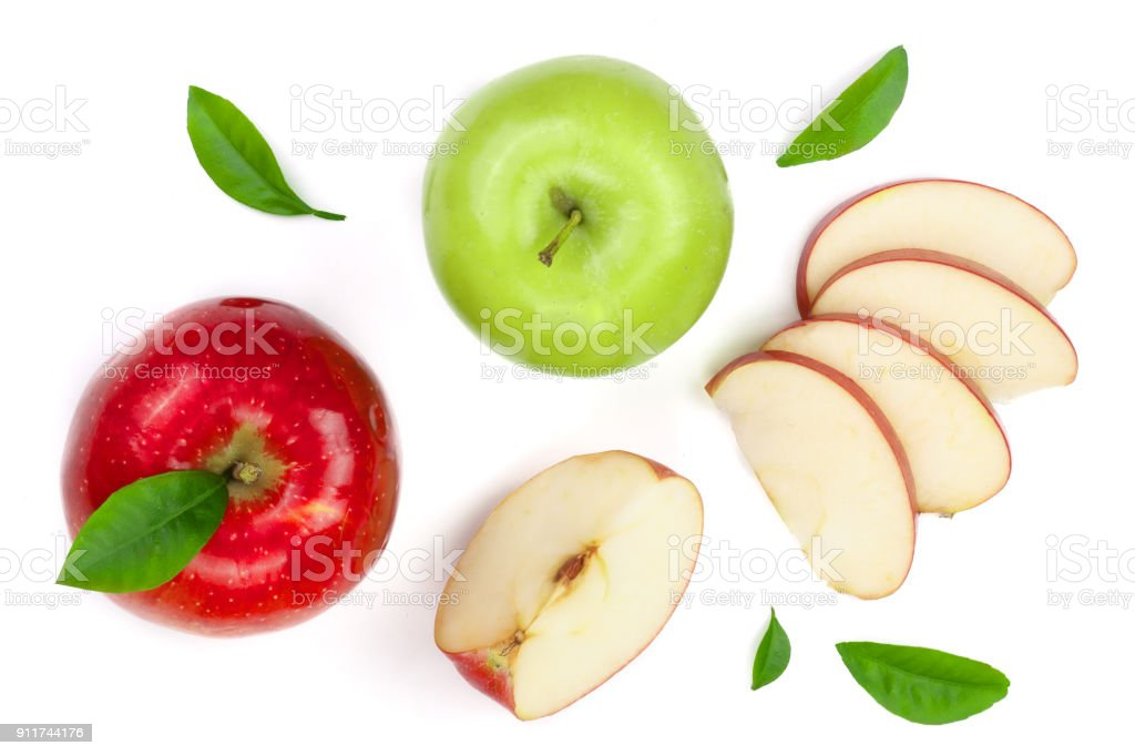 red and green apples with slices and leaves isolated on white background top view. Set or collection. Flat lay pattern stock photo