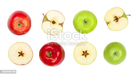 istock red and green apples with slices isolated on white background top view. Flat lay pattern 908596788