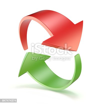 istock Red and green arrows circle 3D 847474374