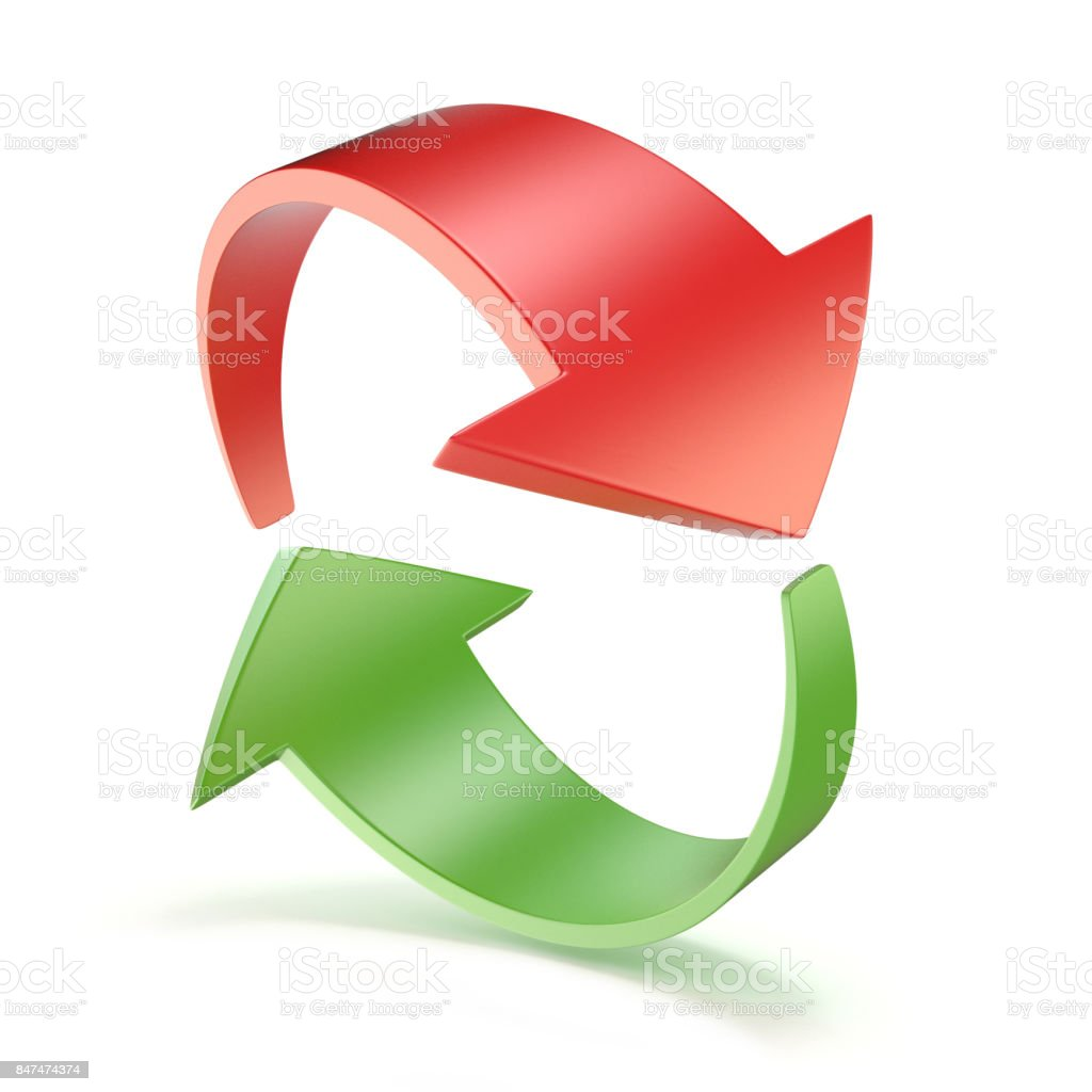 Red and green arrows circle 3D stock photo