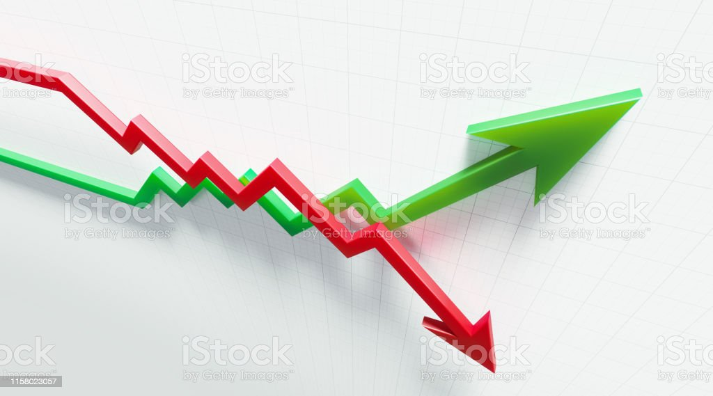 Red and green arrow symbols forming a line graph over a graph paper...
