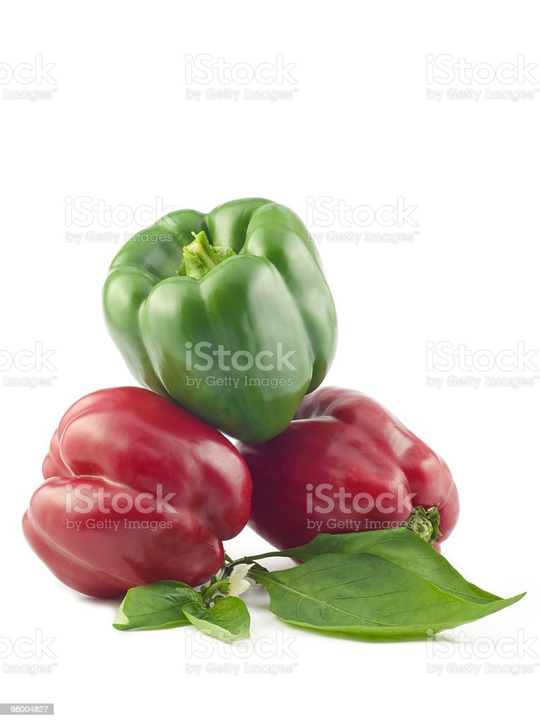 Red and Green Bell Peppers royalty-free stock photo