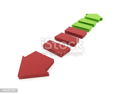 istock Red and green business arrows rendered isolated 500307927