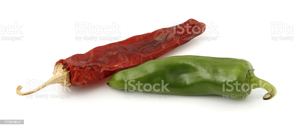 Red and Green Chili Peppers stock photo