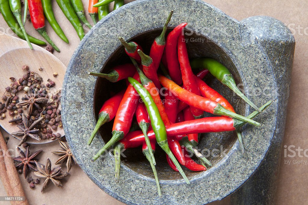 Red and Green Chilli with Spice stock photo