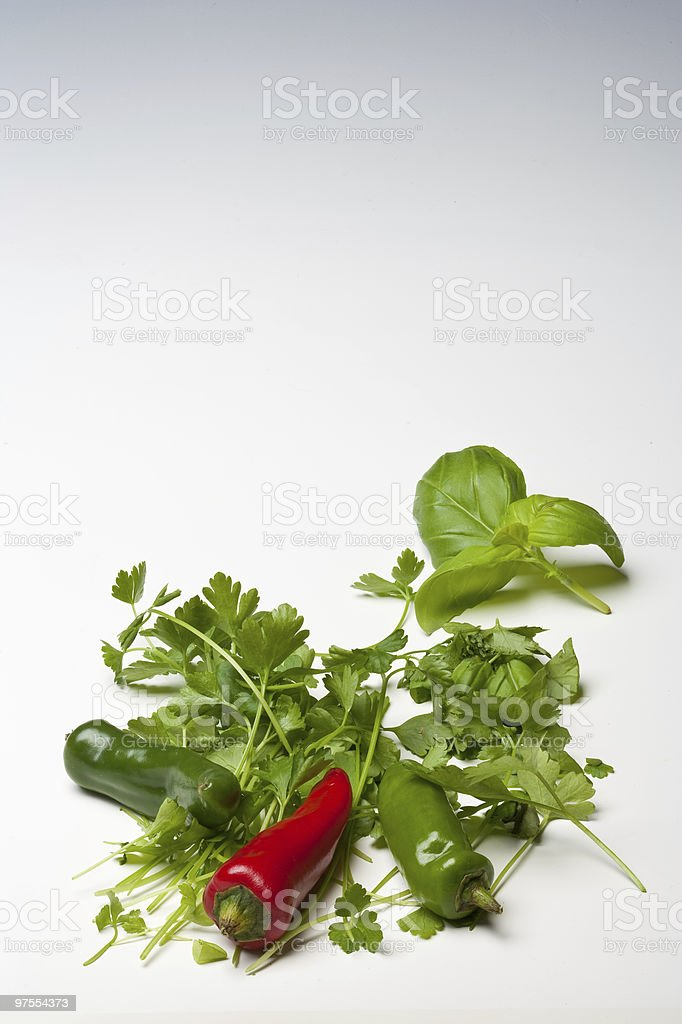 Red and Green Chillies with Parsley Basil royalty-free stock photo