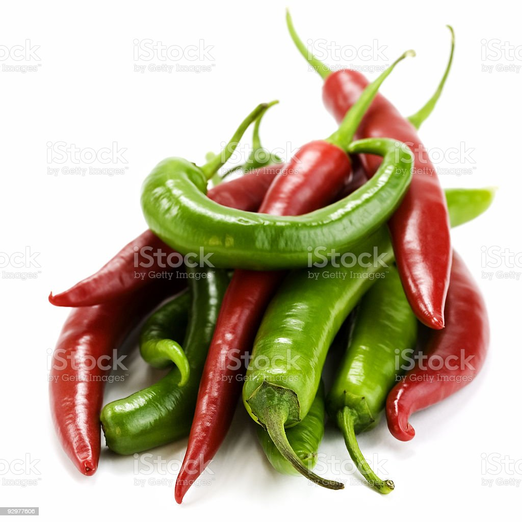 red and green chillis royalty-free stock photo