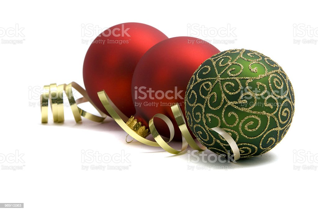 Red and green Christmas ornaments royalty-free stock photo
