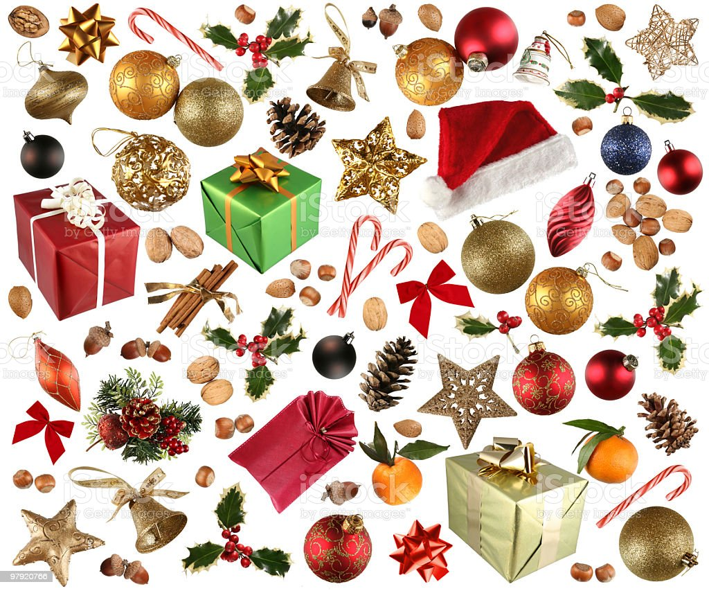 Red and green collection of Christmas stickers royalty-free stock photo