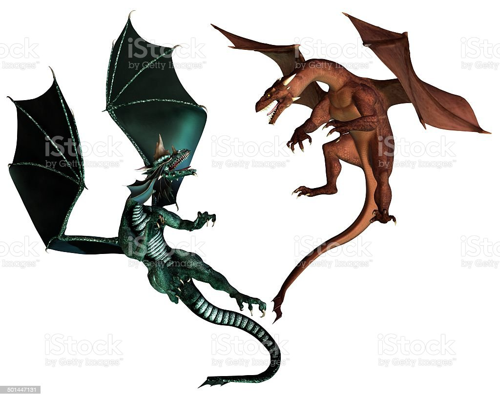 Red and Green Dragons Fighting stock photo