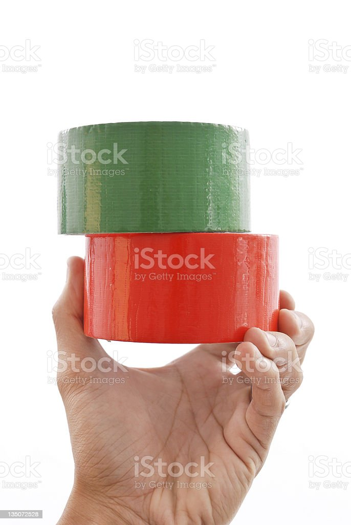 Red and Green Duct Tape stock photo
