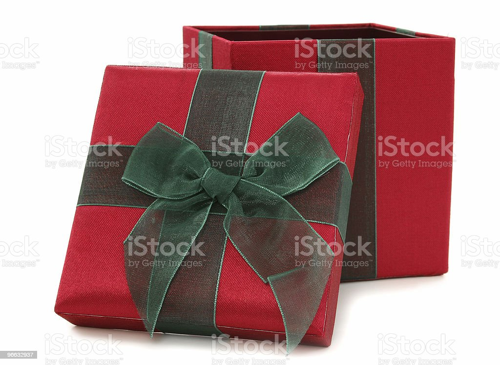 Red and Green Fabric Gift Box royalty-free stock photo