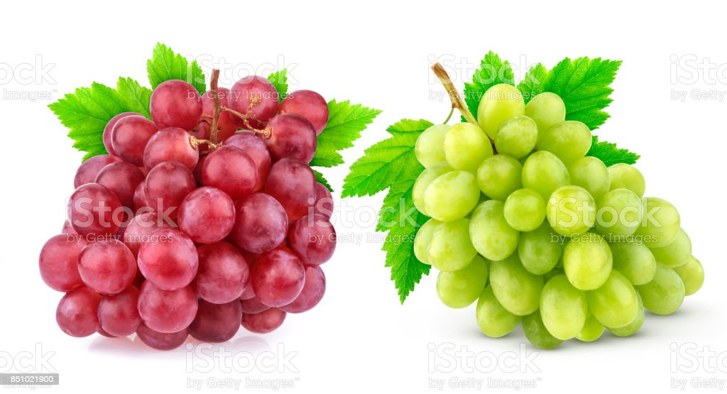 Red and green grape with leaves isolated on white background. Studio shot. Collection stock photo