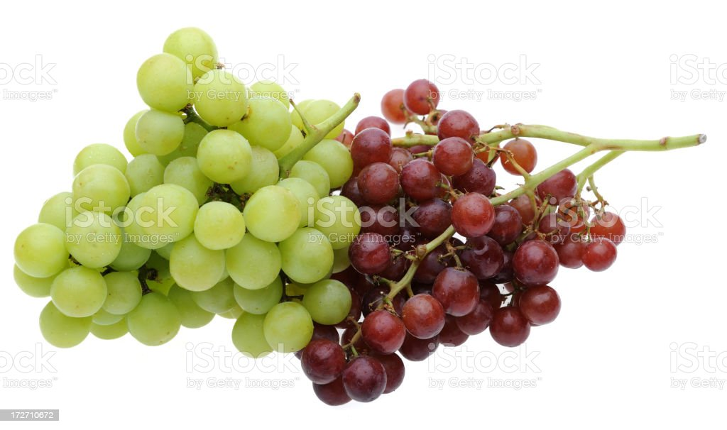Red and Green Grapes Isolated on White Background royalty-free stock photo