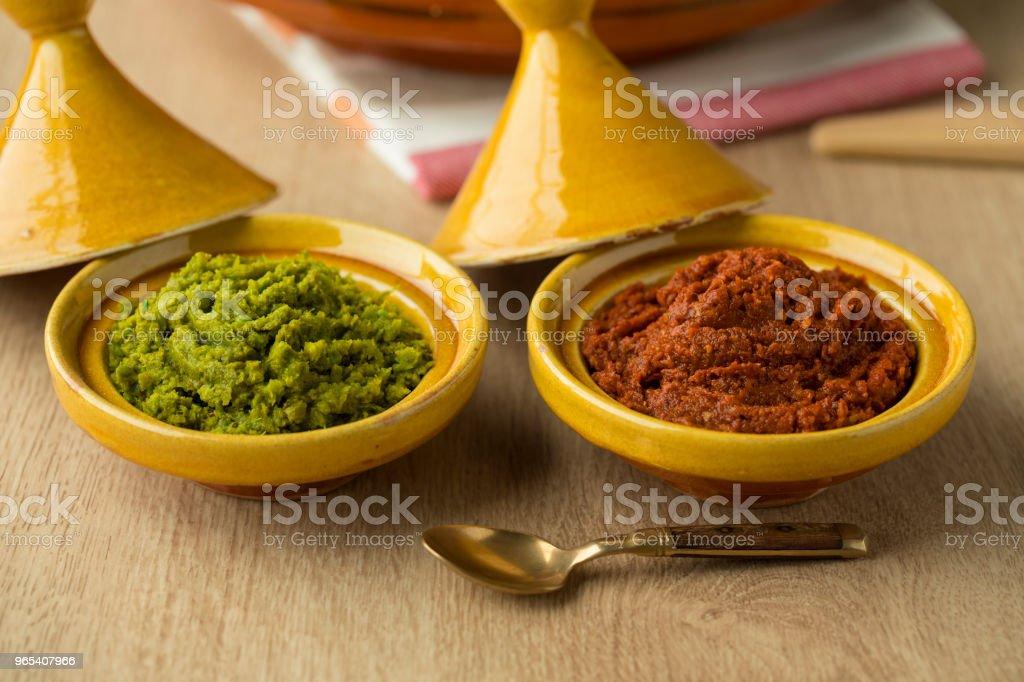 Red and green harissa close up zbiór zdjęć royalty-free