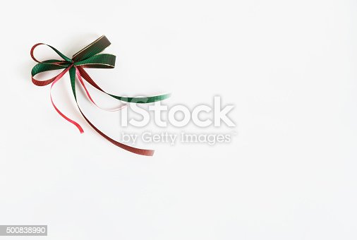 istock Red and Green Hologram Ribbon Bow 500838990