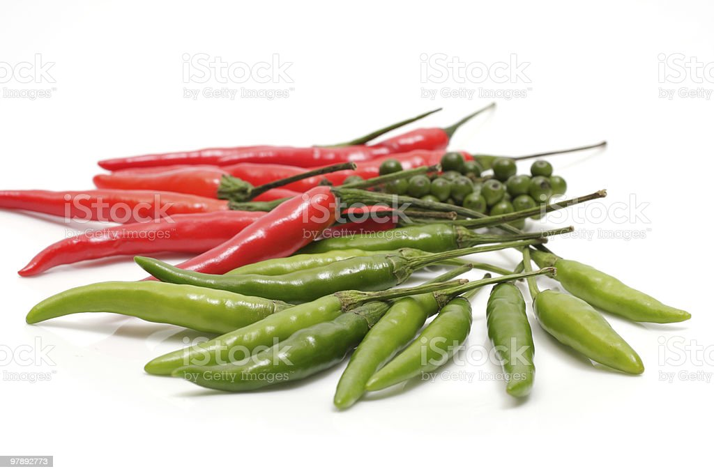 red and green  hot chillies royalty-free stock photo