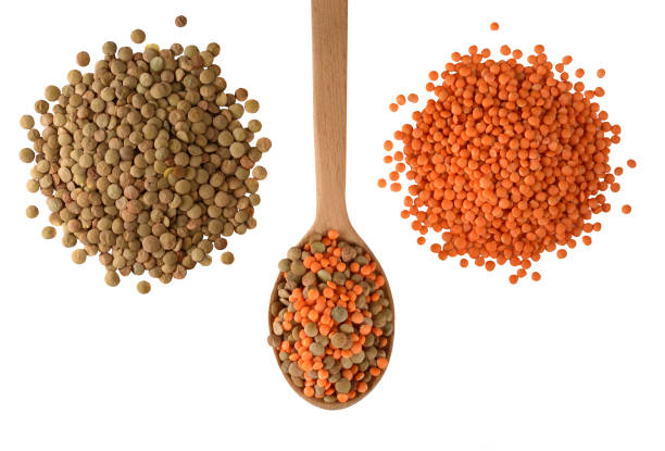 red and green lentils isolated on white background. - lenticchie verdi foto e immagini stock