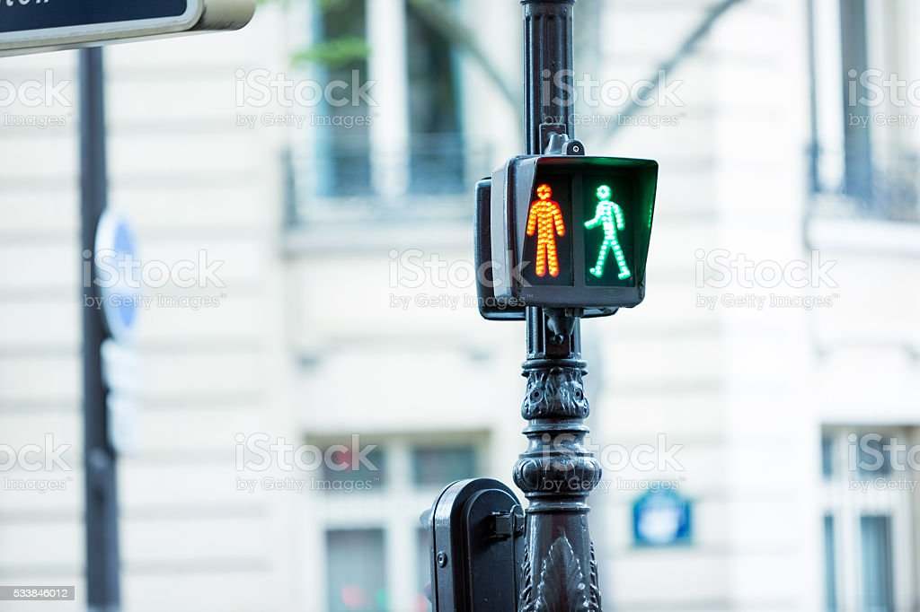 Red and green man pedestrian stop traffic light stock photo