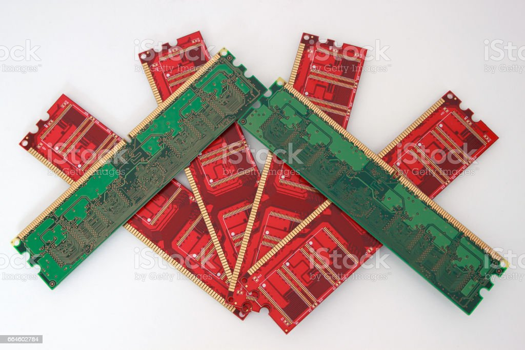 Red and green memory cards for personal computer. stock photo