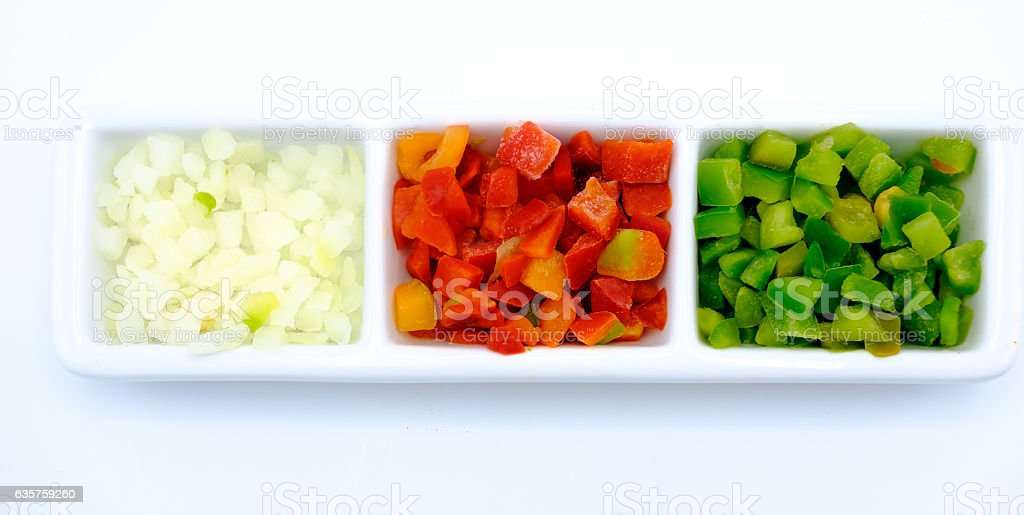 Red and green pepper and onion cut stock photo
