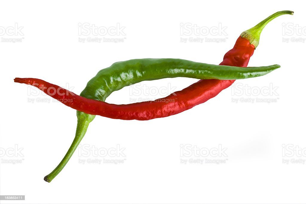 Red and green peppers isolated royalty-free stock photo