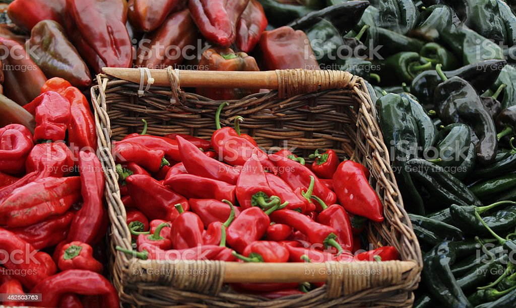 Red and green peppers. stock photo