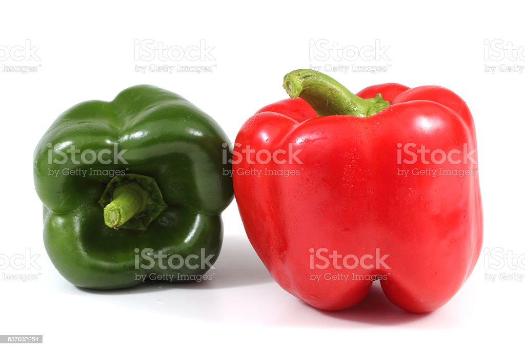 Red and green peppers stock photo