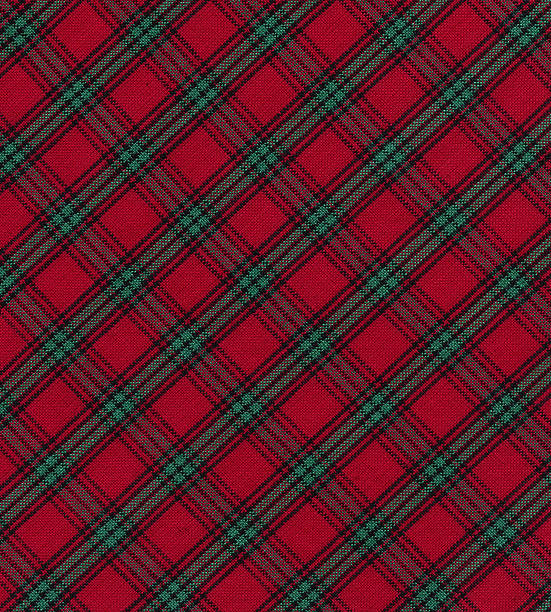 red and green plaid fabric - christmas green stock photos and pictures