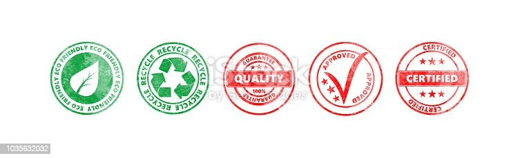 istock Red and green round stamps with text isolated on white background, banner 1035632032