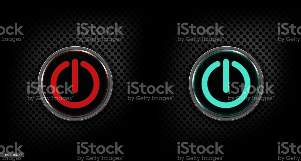 Red and green speaker power buttons royalty-free stock photo