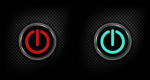 Red and green speaker power buttons stock photo