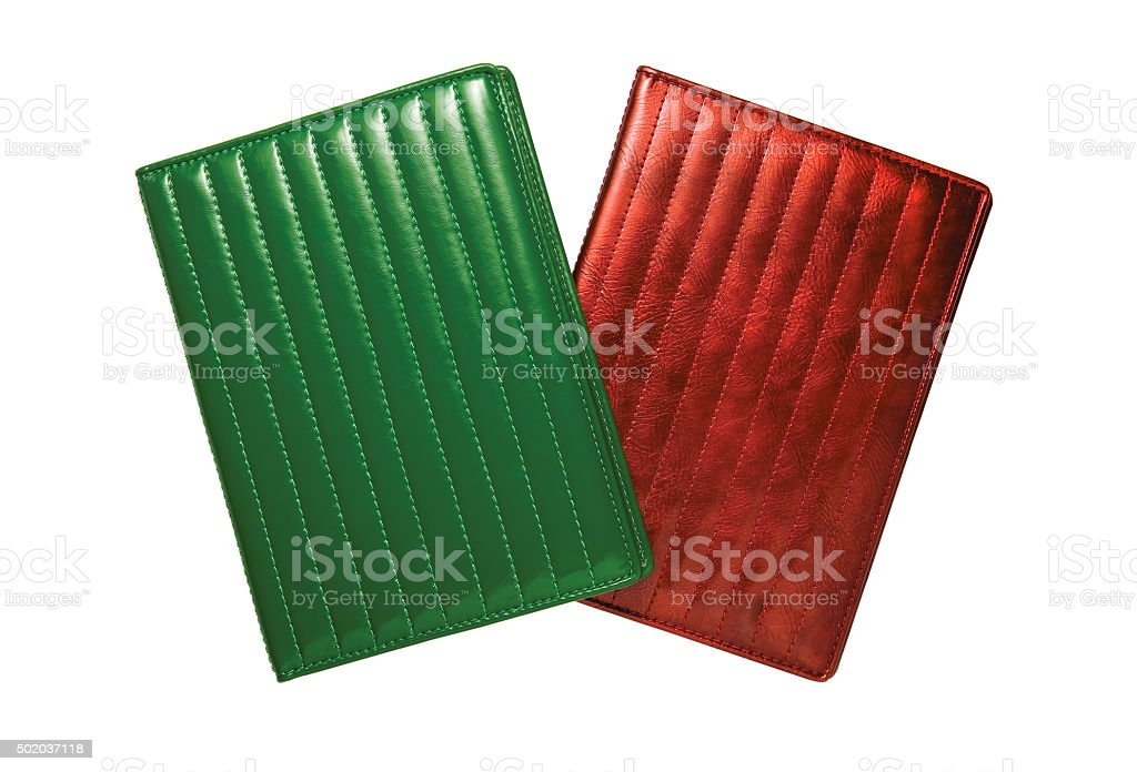 red and green wallets stock photo