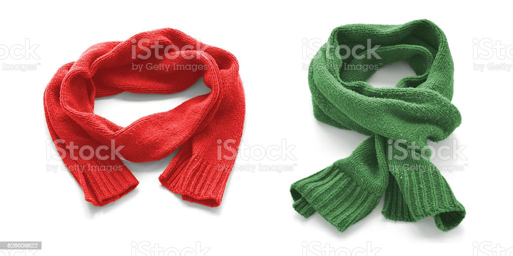 Red and green warm scarves on a white background. stock photo