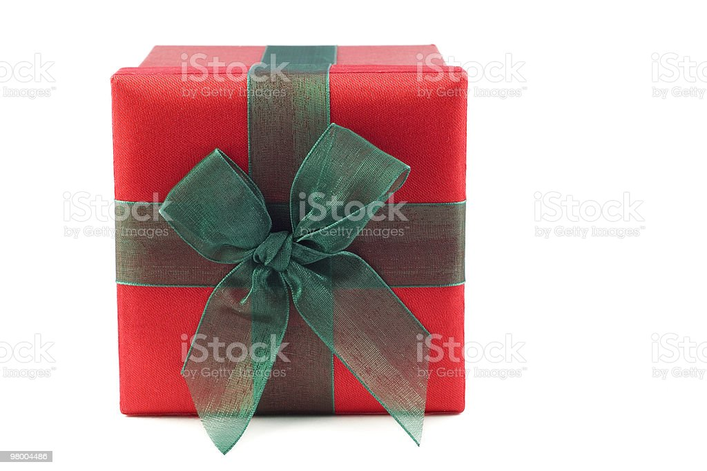 Red and Green Wrapped Gift Box royalty-free stock photo
