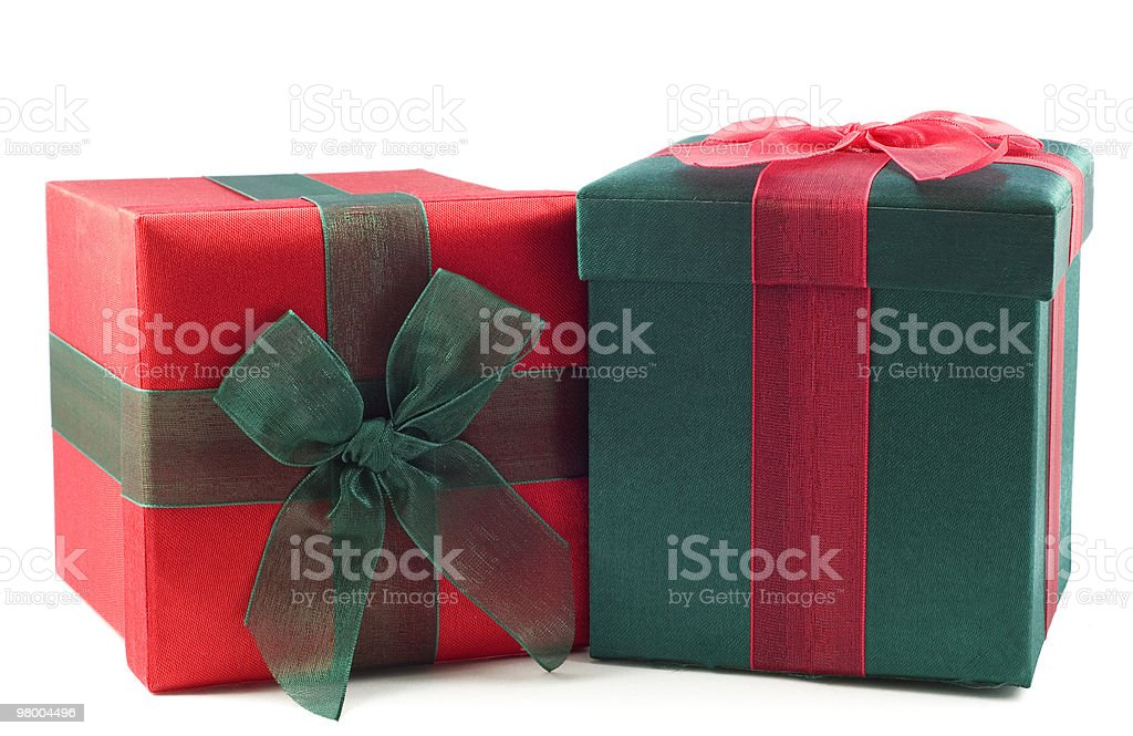 Red and Green Wrapped Gift Boxes royalty free stockfoto
