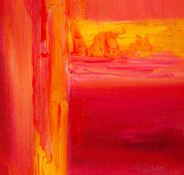 Red and Orange abstract Acrylic painting stock photo